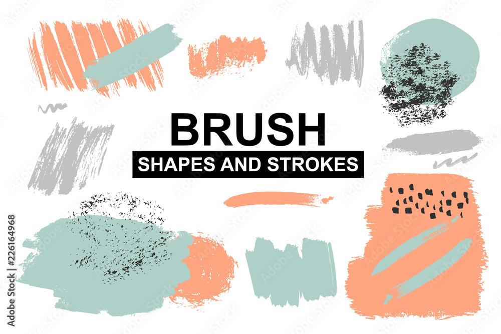 Fototapeta Set of painted brush shapes. Torn vector splashes.