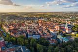Fototapeta Miasto - Top aerial view to old town with market square of Kalisz, Poland.