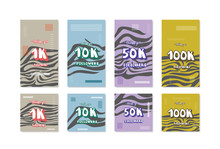 1K, 10K, 50K, 100K Followers Thank You Cards. Vector Social Media Template.
