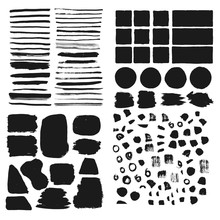 Big Set Of Hand Drawn Frames, Borders, Backgrounds. Brush Vector Isolated.