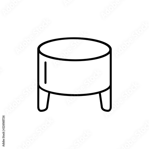 Awesome Black White Vector Illustration Of Round Leather Ottoman Evergreenethics Interior Chair Design Evergreenethicsorg