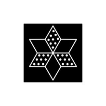 Black & White Vector Illustration Of Star Quilt Pattern. Flat Icon Of Quilting & Patchwork Geometric Design Template. Isolated On White Background.