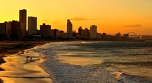 Skyline At Sunset In Durban, South Africa