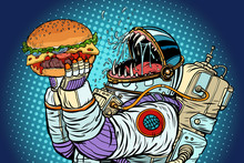 Astronaut Monster Eats Burger. Greed And Hunger Of Mankind Conce