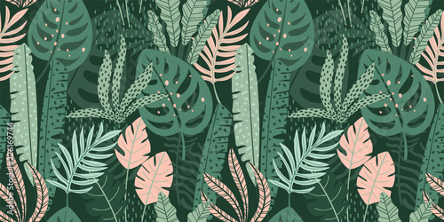 Foto auf AluDibond Boho-Stil Abstract seamless pattern with tropical leaves. Vector template.