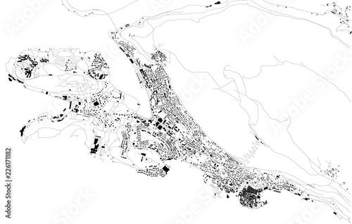 Fotografie, Obraz Mappa satellitare di Dubrovnik, Croazia, strade della città