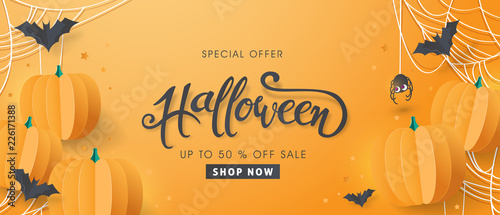 Foto Happy Halloween sale banners or party invitation background
