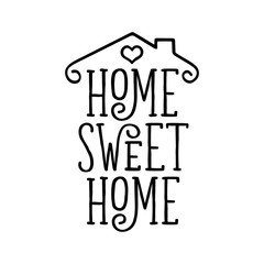 FototapetaHome Sweet Home typography poster. Vector vintage illustration.