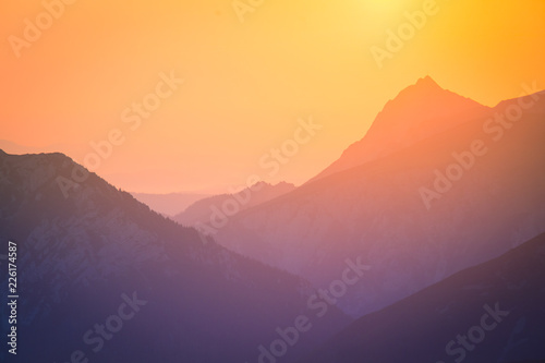 Printed kitchen splashbacks Purple A beautiful, colorful, abstract mountain scenery in sunrise. Minimalist landscape of mountains in morning in blue tones. Tatra mounains in Slovakia, Europe.