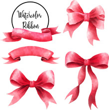 Ribbon Set Watercolor Red Party