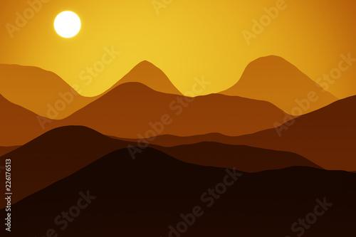 Photo  Mountain at sunset