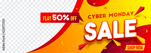 Fotografía Website header or banner design with 50% discount offer for Cyber Monday Sale