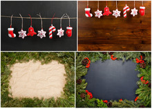 Set Of Christmas And New Year Decorations.