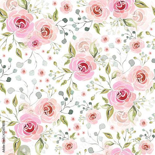 Tapeta do sypialni  pink-rose-flowers-decorative-florist-seamless-pattern-background