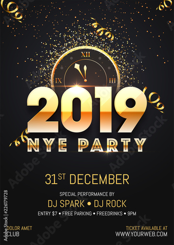 creative 2019 nye new year eve party template or flyer design with time and