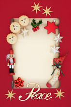 Christmas Blank Letter With Peace Sign, Mince Pies, Holly, Decorations, Retro Stocking And Nutcracker Soldier On Parchment  On Red Background. Letter To Father Christmas Or Party Invitation Concept.