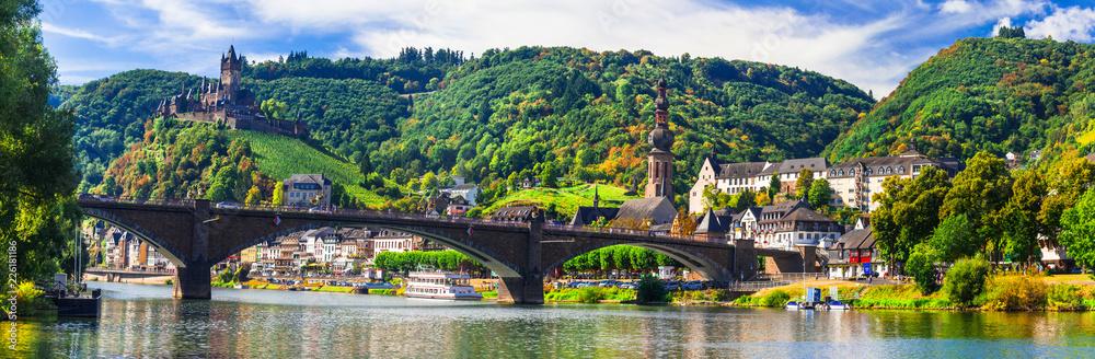 Fototapeta Landmarks of Germany -  medieval Cochem town, Rhine river