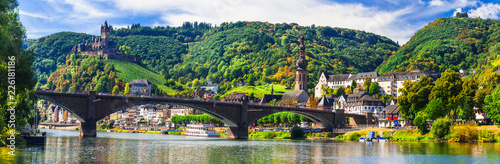 Obraz Landmarks of Germany -  medieval Cochem town, Rhine river - fototapety do salonu
