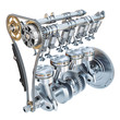 canvas print picture System of Internal combustion engine isolated on white background. 3d