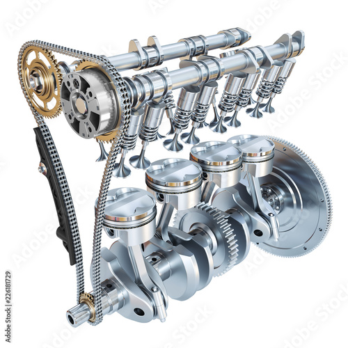 фотографія System of Internal combustion engine isolated on white background
