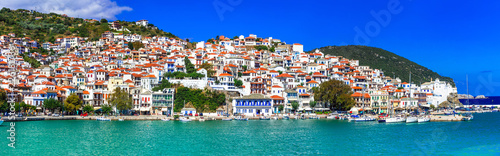 Beautiful greek islands- amazing Skopelos. view of town and port. Sporades, Greece