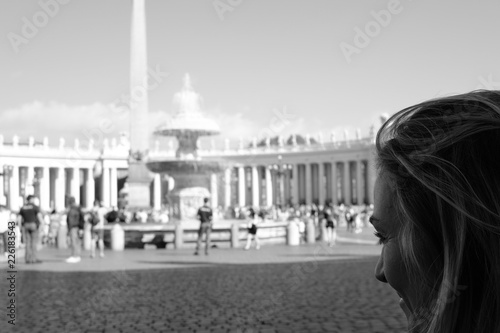 Blonde girl observing Piazza San Pietro, Rome, Italy Canvas Print