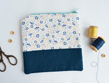 Fabric Notions Bag With Flower...