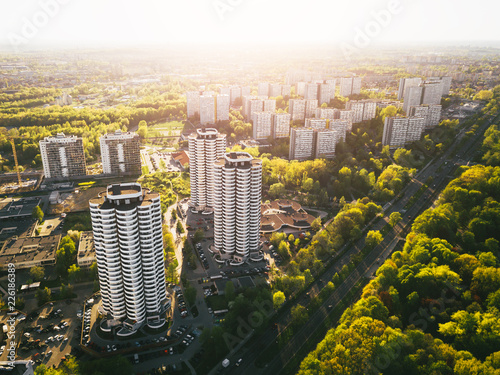Obraz Katowice Osiedle Tysiąclecia z powietrza - fototapety do salonu