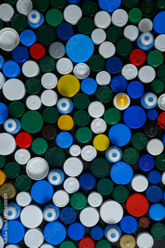 Collection of various colorful plastic screw caps #226188189