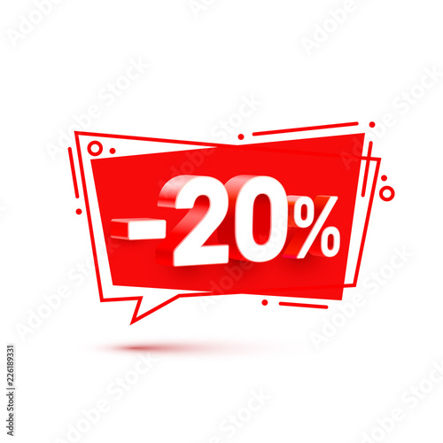 Fotomural Banner 20 off with share discount percentage. Vector illustration
