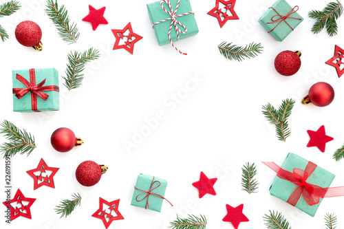 Small Christmas Gifts.Christmas Background With Small Christmas Gifts Balls