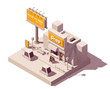 Vector isometric billboard and shop