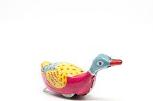 Antique Tin Toy Duck Isolated ...