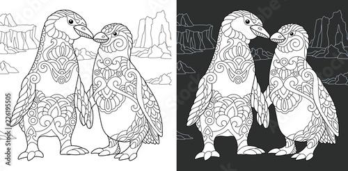 Fototapeta premium Penguin couple in love. Coloring Page. Coloring Book.