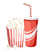 Popcorn In Red And White Cardb...