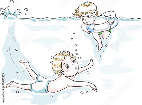 Fotografie, Obraz  Kids Boys Swim Teach Brotherly Duty Illustration