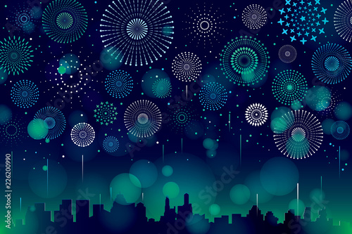 Poster Violet Vector illustration of a festive fireworks display with bokeh over the city background design.
