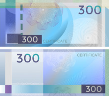 Voucher Template Banknote 300 With Guilloche Pattern Watermarks And Border. Blue Background Banknote, Gift Voucher, Coupon, Diploma, Money Design, Currency, Note, Check, Cheque, Reward. Certificate