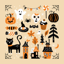 Halloween Holiday Cute Element Set