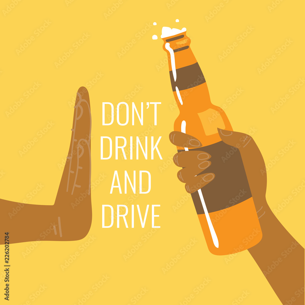 Fototapeta Don't drink and drive! Be a responsible driver. Flat vector illustration.