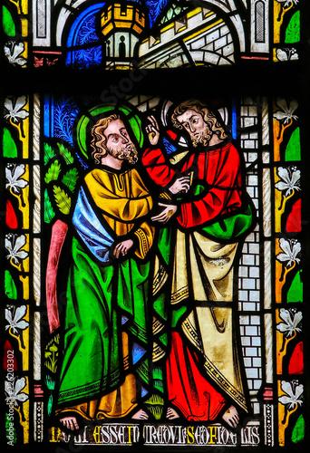 Fotografie, Obraz  Jesus to Saint Thomas: Stop doubting, but believe - Stained Glass