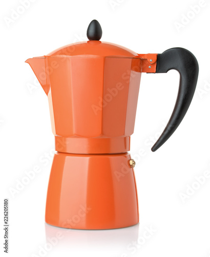 Side view of orange stovetop espresso coffee  maker
