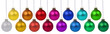 canvas print picture - Weihnachten Weihnachtskugeln Banner Weihnachts Farben Kugeln Dekoration hängen Freisteller