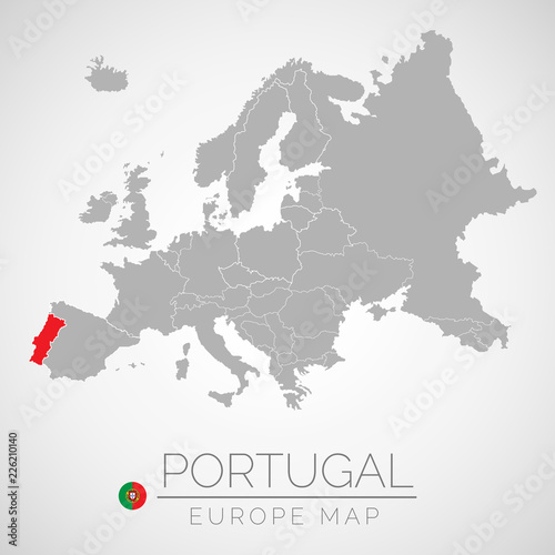 Map Of European Union With The Identication Of Portugal Map Of