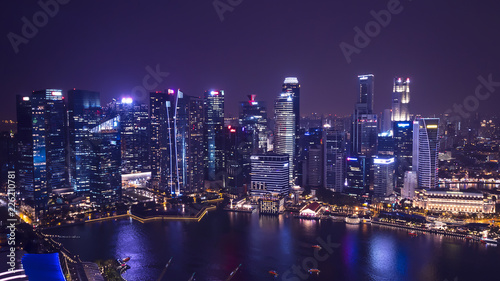Cityscape night light view of Singapore 8 Wallpaper Mural