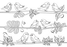 Happy Birds Sitting On Branches Of Tree For Your Coloring Book