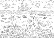 Funny Composition Of Marine Life For Your Coloring Book