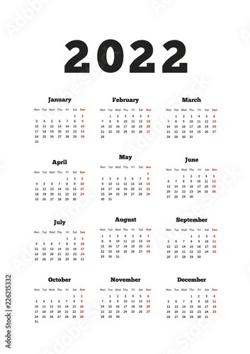 Fotografia  Calendar on 2022 year with week starting from monday, A4 size vertical sheet