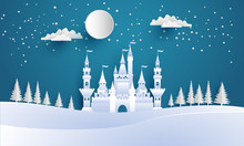 Castles And Snow In The Winter. Illustration Of The Beauty Of The Castle With The Concept Of Paper Art