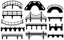 Black Silhouette. Collection Of Different Bridges. City Architecture Flat Icon. Vector Illustration Isolated On White Background